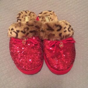 MK ruby red sequin slippers